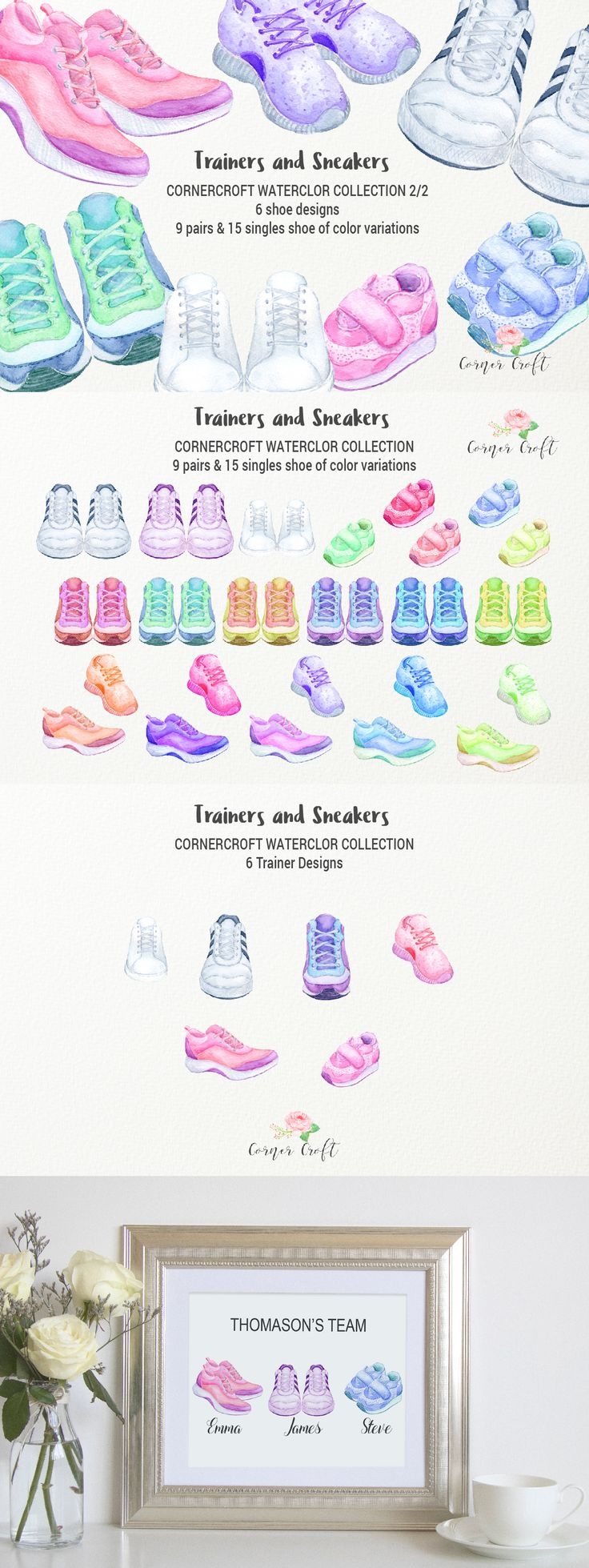 Watercolor trainers and sneakers for instant download. They are for men's, women's and kid's. There are white trainers and trainers in pink, green, purple, yellow and red. Perfect for creating personalised print.
