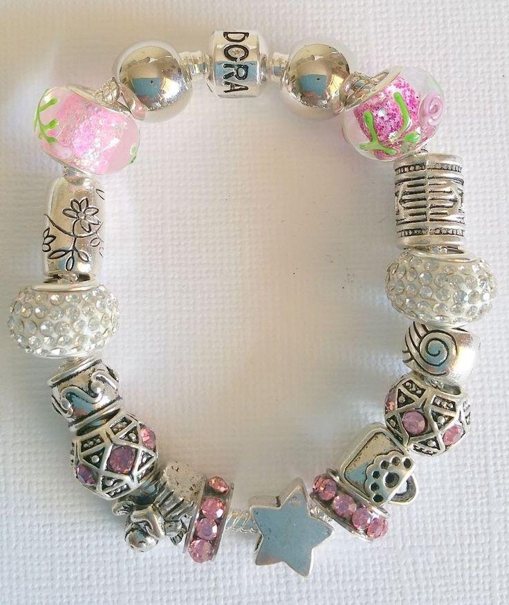 From $45 Charm Bracelet - 925 Sterling Silver, Rhinestones, Murano Glass in Jewellery & Watches, Fashion Jewellery, Charm Bracelets   eBay