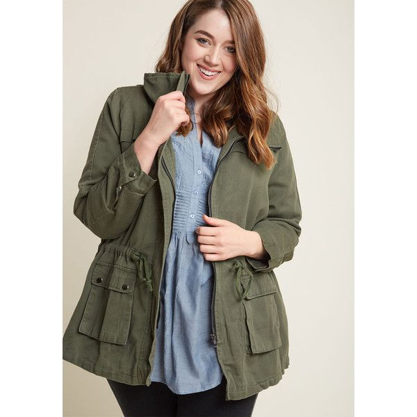 Escape into Nature Jacket (91 AUD) ❤ liked on Polyvore featuring outerwear, jackets, olive jacket, cinch jackets, army green drawstring jacket, green military jackets and olive green drawstring jacket