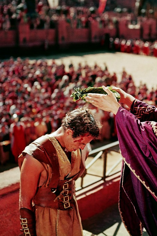 William Wyler's 'Ben Hur', 1959 - Charlton Heston stars as Judah Ben Hur, a wealthy Jewish prince in Jersalem. Early on, he welcomes back Messala (Stephen Boyd) an old friend who's the new commander of the Roman Legion. They find they have divergent political views. When the governor is accidentally injured by a loose tile in front of Judah's home; Messala sends Ben Hur to the galley's. Judah's saga begins. . .