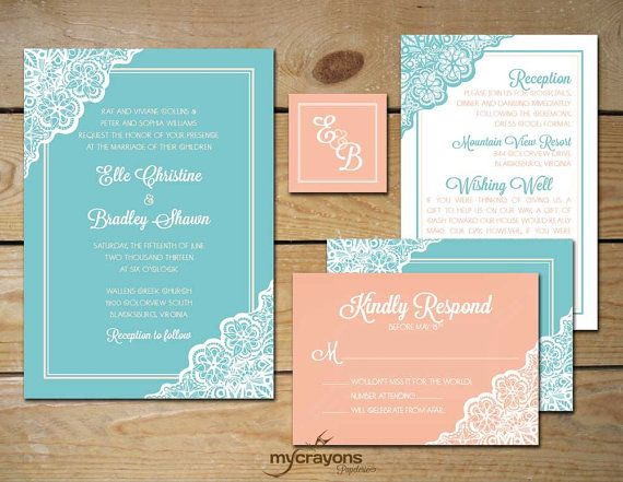 Retro Lace Wedding Invitation Set // DIY Printable // Coral and Mint, Peach, Aqua