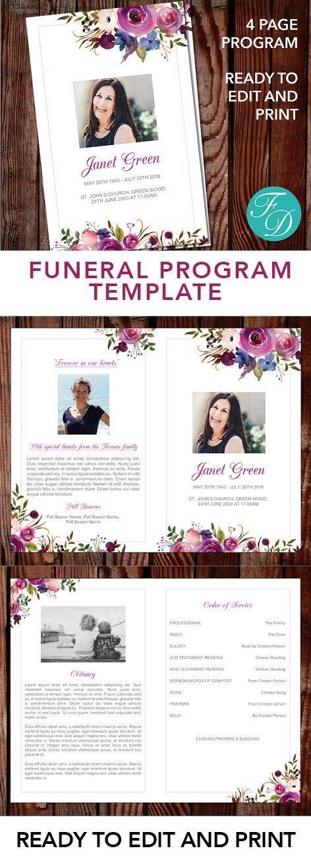 272 best Funeral Programs for Women Programs \ Prayer Cards - funeral program word template
