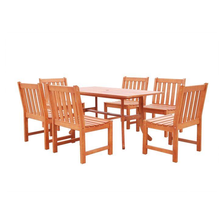 Malibu 7pc Rectangle Hardwood Outdoor Eco-friendly Patio Dining Set - Gray - Vifah, Urban Safari Tan