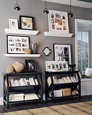 Black, white and grey: Bookcase, Bookshelves, Idea, Livingroom, Living Room, Display, Space, Gray Wall, Black