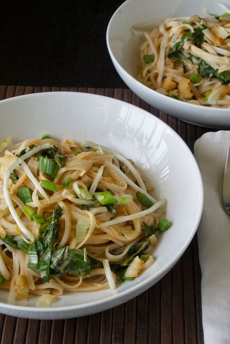 Spicy coconut rice noodles with kale and basil, a very easy weeknight meal. from Culinary Ginger