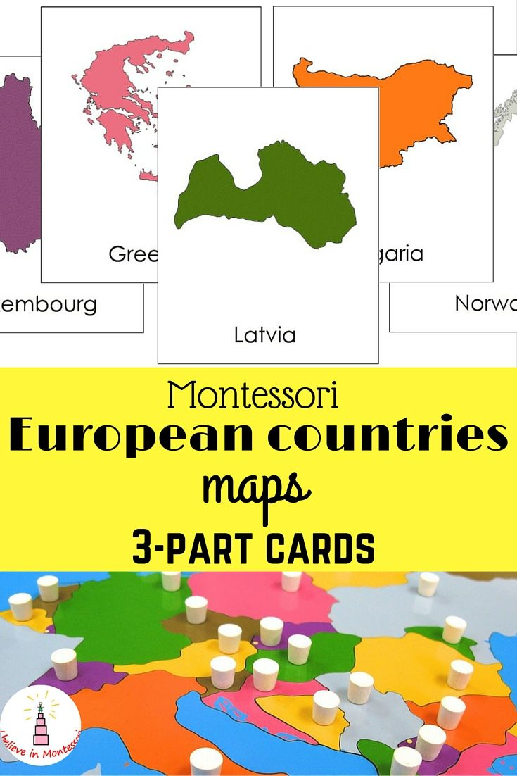 All European countries maps Montessori 3-part cards Printables
