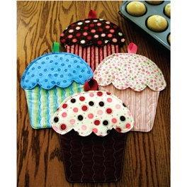 "Baking so many cupcakes, you'll need a nice oven mitt to pull them from the oven -- so why not a cupcake oven mitt?!    These make a great gift for that special baker in your life. Quick, easy and very functional. Finished size is 10"" x 8""."
