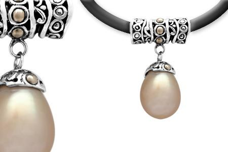 Silver and Gold Pendant with Pearl