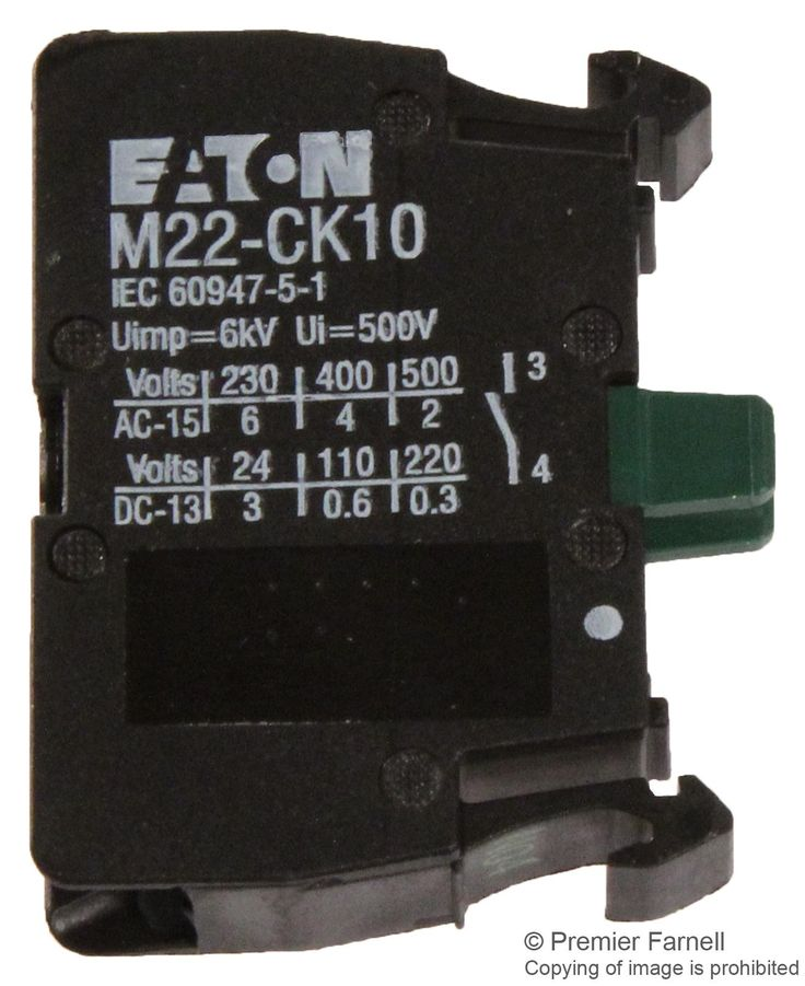 M22-CK10 EATON MOELLER, Switch Contact Block, 6 A, RMQ Titan Switches, 500 V, 220 V, Cage Clamp, 1 Pole, Newark element14 Canada