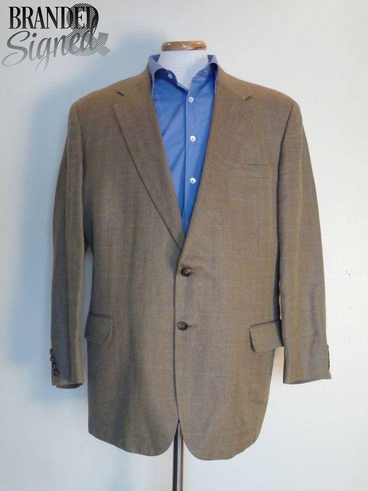 Suit JACKET Men s 44 Regular AQUASCUTUM GOLDEN Silk Blend WINDOWPANE Made in USA
