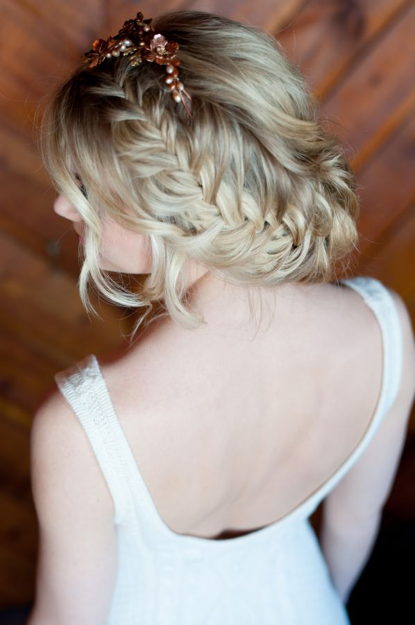 Gorgeous bridal braid: http://www.stylemepretty.com/little-black-book-blog/2016/04/07/cranberry-copper-winter-wedding-inspiration-cute-pup-included/ | Photography: Charlotte Jenks Lewis - http://charlottejenkslewis.com/