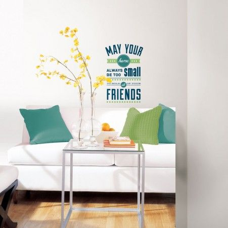 Room for friends quote peel and stick wall decals blue