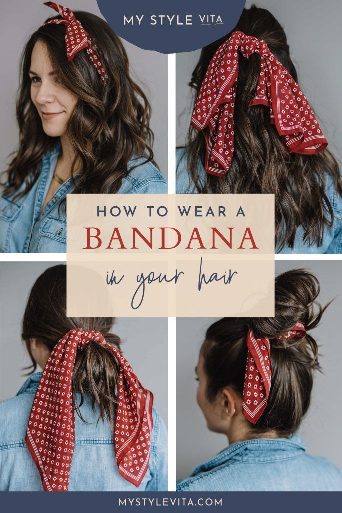 How To Wear A Bandana In Your Hair This Summer An Indigo Day Bandana Hairstyles For Long Hair Hair Scarf Styles Bandana Hairstyles Short