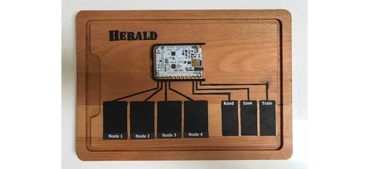 Project Herald was designed to be played with one hand to help those with physical disabilities be able to express themselves musically. The creators decided early on to use the Touch Board within their project as the board's capacitive sensors can be used to trigger events with proximity sensing.