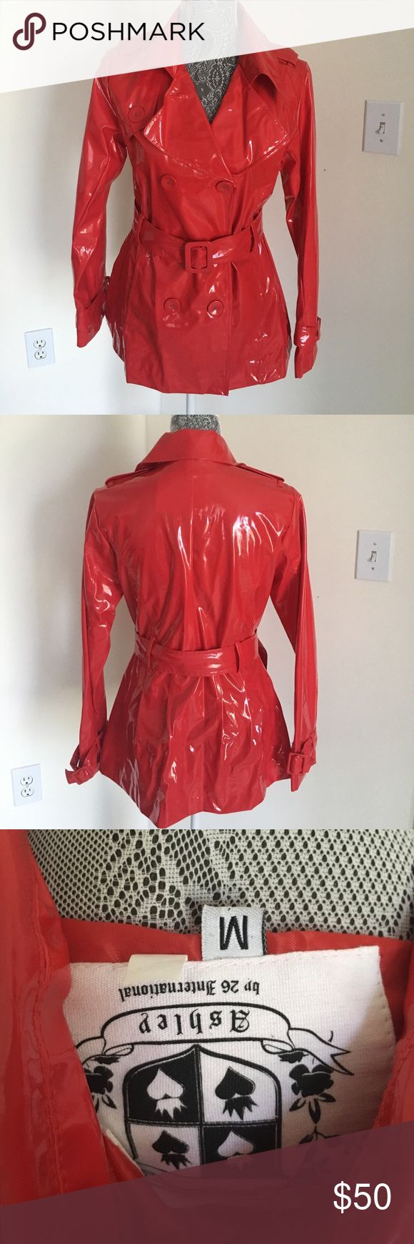 Red Patent Trench Coat Like new. Great condition. Ashley By 26 International Jackets & Coats Trench Coats