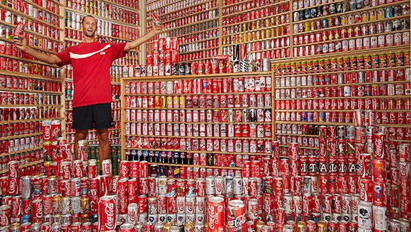 Coca Cola superfan Davide's world-beating can collection featured in Guinness World Records 2015 | Guinness World Records