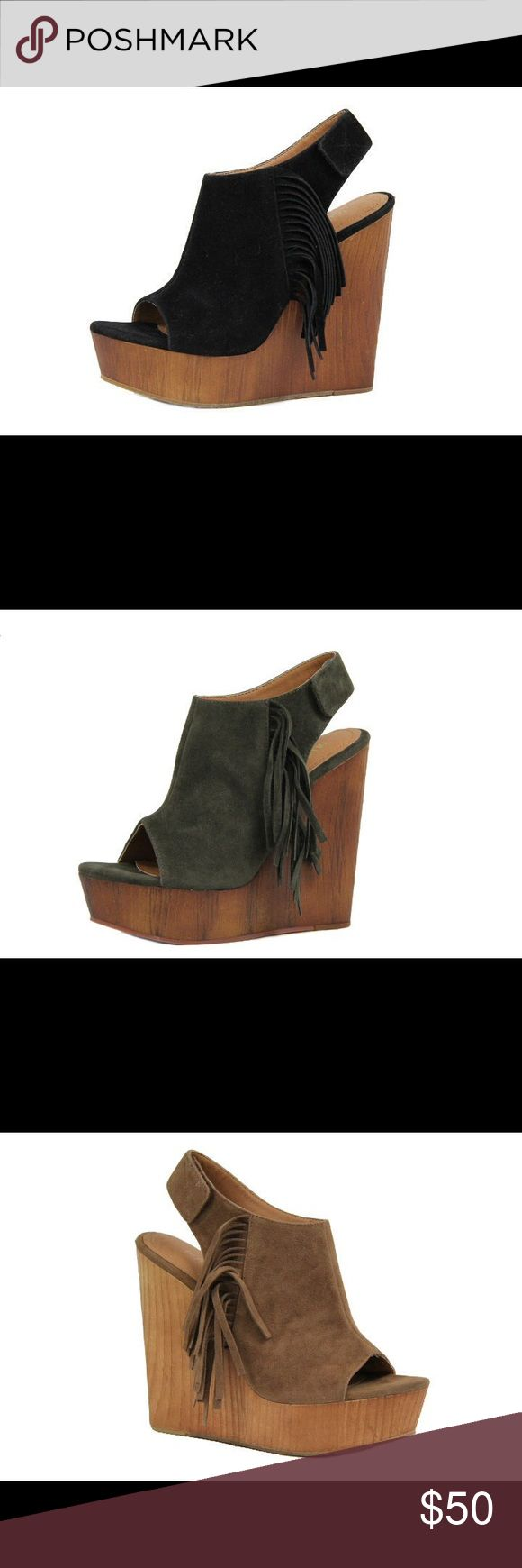 Ladies wedge sandal with side fringe. Black.NIB Very stylish and comfy ladies wedge sandal with side fringe. Around 5 inches heels. Brand new in box, Black color and available also in olive and camel colors and listed in my closet. Man made suede. NO TRADES shoeroom21 boutique Shoes Wedges
