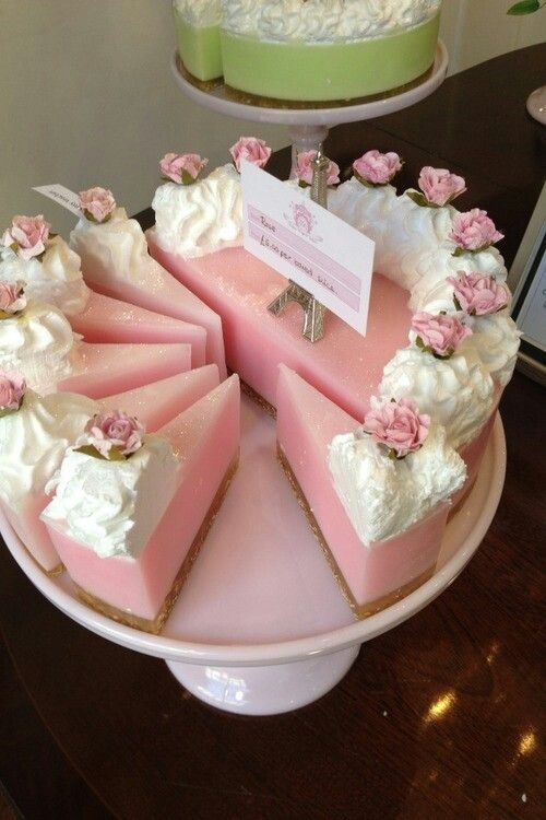 Another cute soap cake idea - light brown graham cracker crust bottom layer, then a light pink layer and piped soap frosting with rose embeds on top