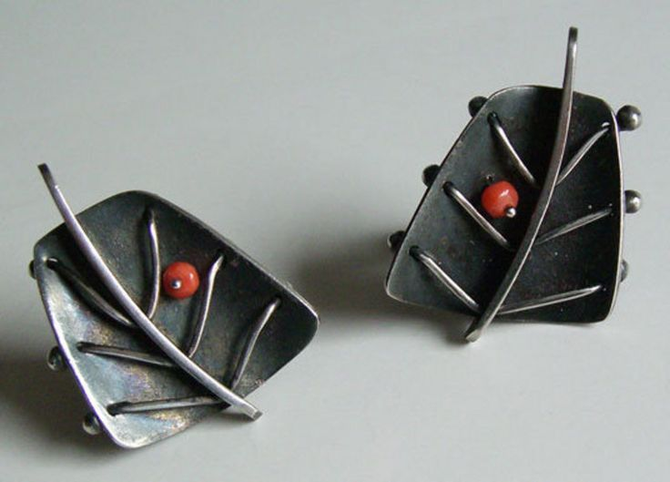 Earrings | Ed Wiener.  Sterling silver and coral. c. 1950s