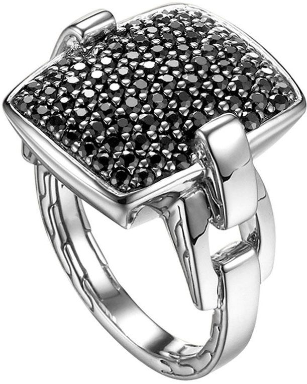 $695, Silver Ring: John Hardy Classic Chain Silver Lava Black Sapphire Ring Size 7. Sold by Neiman Marcus. Click for more info: https://lookastic.com/women/shop_items/133222/redirect