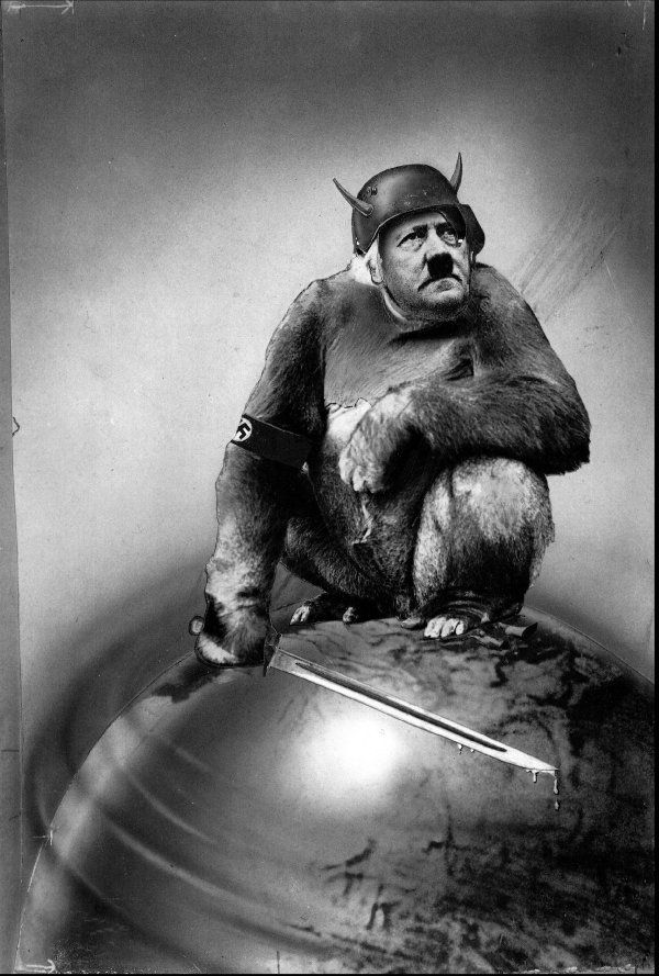 In this photomontage Hitler is depicted as a gorilla on top of the world with a sword in his hand. I personally feel that this is a really powerful photomontage as it depicts Hitler as a slightly less intelligent creature.