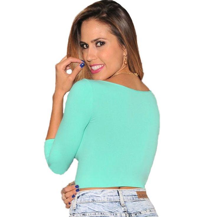 New Autumn long sleeve T shirt Women Black White Green Bodycon Shirts Short Tee Shirt Crop Top Casual T-shirt tops (5)