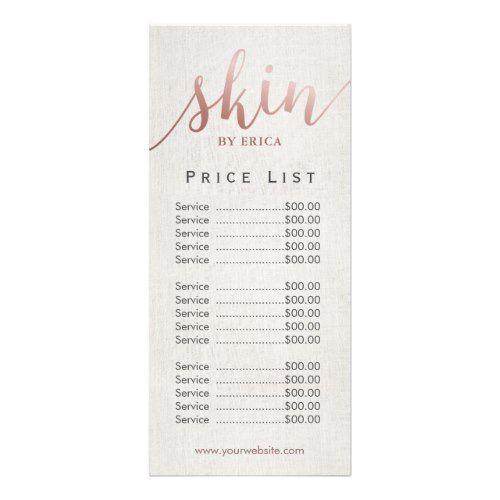 Skincare Salon Spa Esthetician Price List Rack Card | Zazzle