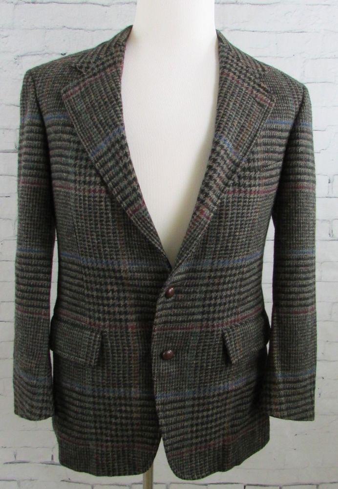 Mens Vintage Ralph Lauren Wool Houndstooth Blazer Sport Coat Sz 36 Black #PoloRalphLauren #TwoButton