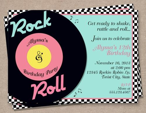 Printable Nifty 50's Birthday Invitation | PerfectFavors - Digital Art  on ArtFire