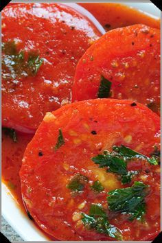 Sliced Tomatoes in Bloody Mary Sauce -fabulous use for our Bloody Mary Spice Blend!  Use spice blend in place of other spices in this recipe. Great as a side or for brunch. Top w/a runny egg and serve with crusty bread.  YUM!