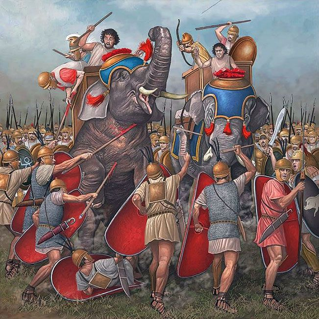 """Roman legionaries against Carthaginian elephants"""
