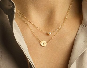This initial necklace with the small pearl is so sweet and pretty – Single Pearl Necklace, Dainty Thin Gold Chain 14k