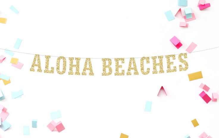 Aloha stranden, Decor van het strand, Bar Decor met bestemming bruiloft, bruiloft Banner, Bachelorette partij, Girls Night Out, strand bruiloft, goud Glitter door MailboxHappiness op Etsy https://www.etsy.com/nl/listing/398387001/aloha-stranden-decor-van-het-strand-bar