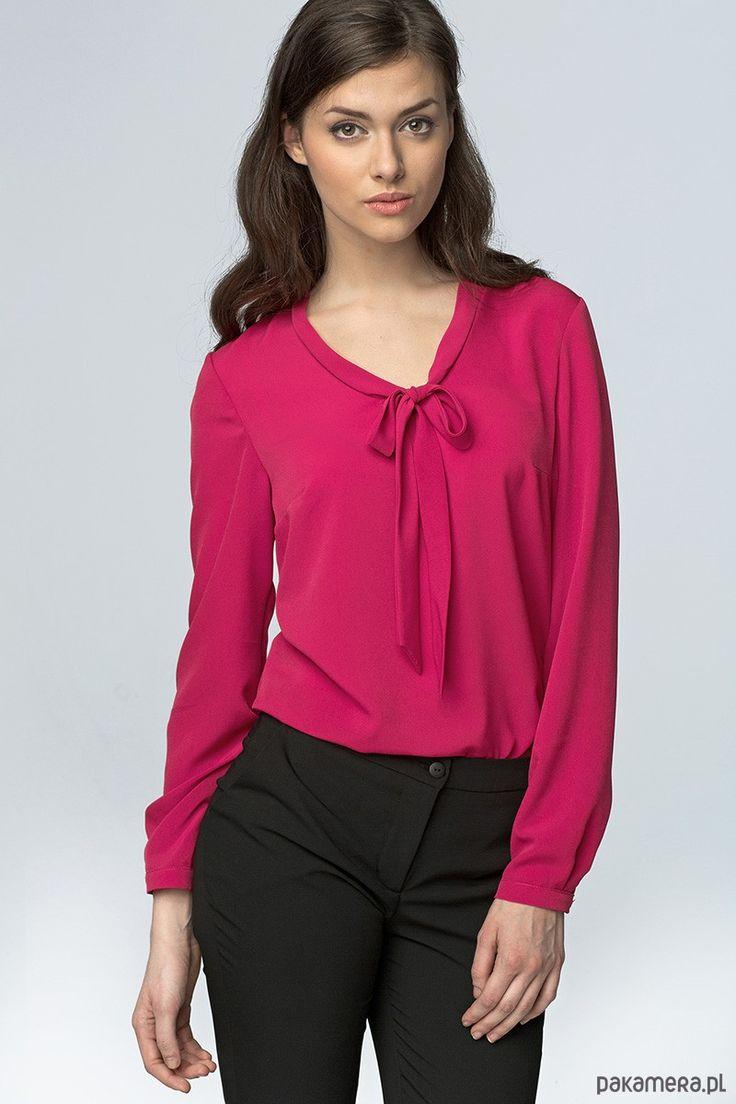 bluzki - inne-Bluzka z wiązaniem na dekolcie b56 - fuksja