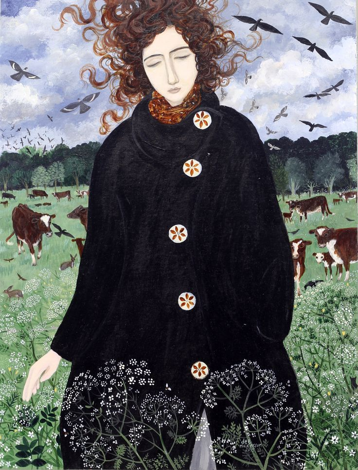 Dee Nickerson 'May' Acrylic on Paper Lovely how the Queen Anne's lace decorates her coat - 'nature as designer'