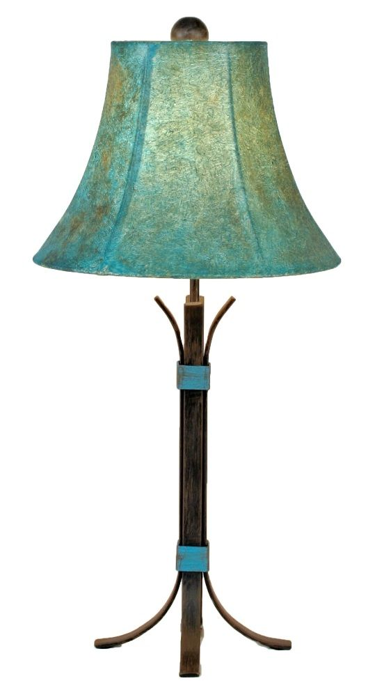 Turquoise Accent Southwest Iron Table Lamp with Shade - A southwestern style iron table lamp accented with turquoise painted bands and a hand painted turquoise color faux leather shade.