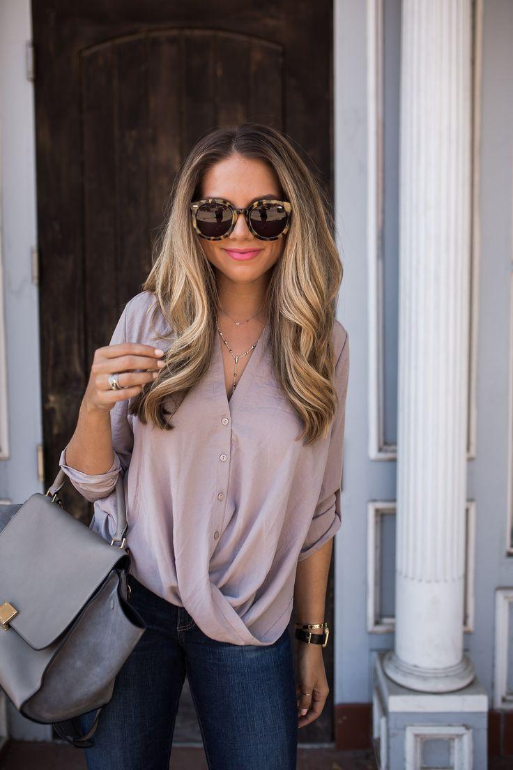 Faux wrap blouse + gray purse + retro tortoise sunglasses
