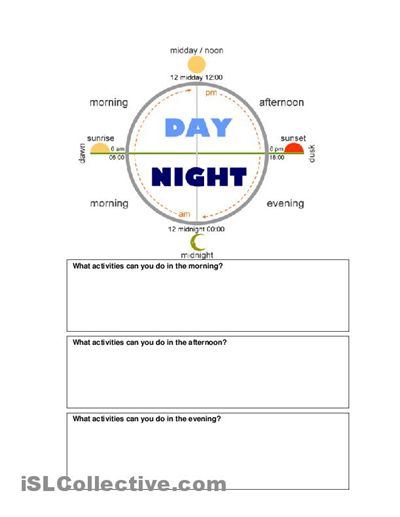 time of day worksheet with graphic for esl ell newcomer english pinterest graphics. Black Bedroom Furniture Sets. Home Design Ideas