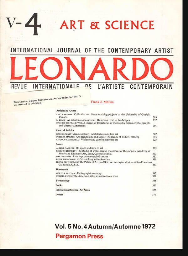 Leonardo (Vol 5, No. 4, Autumn 1972), Illustrated, Frank Oppenheimer on the Exploratorium, Peter Marzio on Rube Goldberg, and more  (26013) by ArtPaperEtc on Etsy