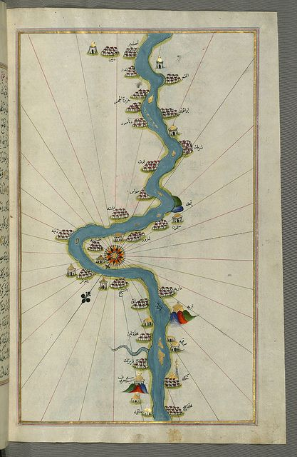 """lluminated Manuscript, Map of the Nile River with various oases on each as far as Sīdī Maʿrūf from Book on Navigation, Walters Art Museum Originally composed in 932 AH / 1525 CE and dedicated to Sultan Süleyman I (""""The Magnificent""""), this great work by Piri Reis (d. 962 AH / 1555 CE) on navigation was later revised and expanded"""