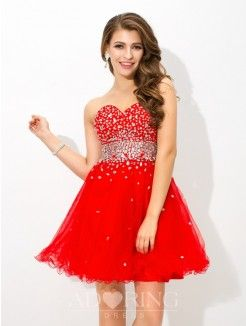 A-Line Sweetheart Sleeveless Beading Short Organza Cocktail Dress
