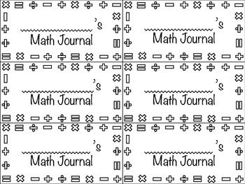 Math Journal Labels - Black and White