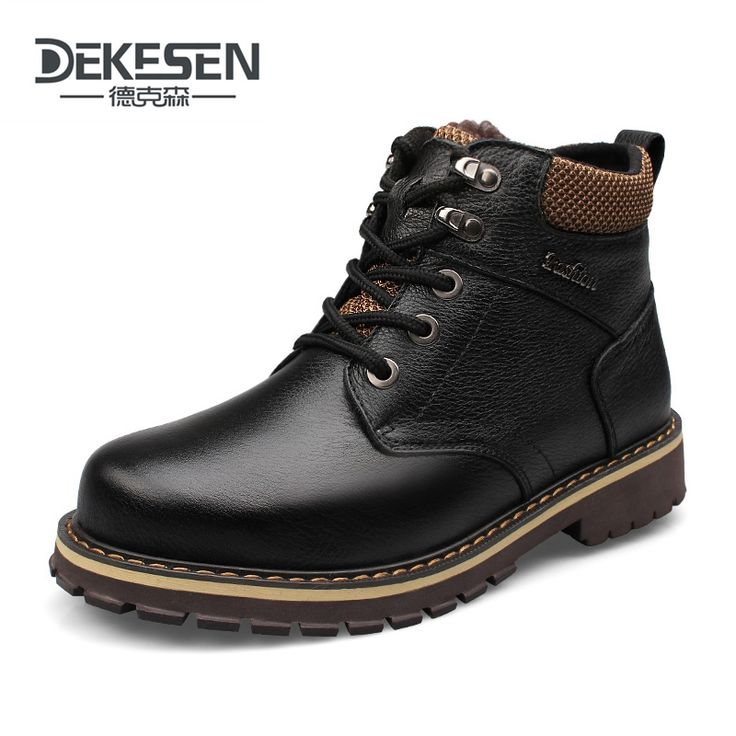 DEKESEN Size 45 Full grain leather Russian style Handmade shoes fur snow boots men winter warm boots,Ankle Boots for men Shoes