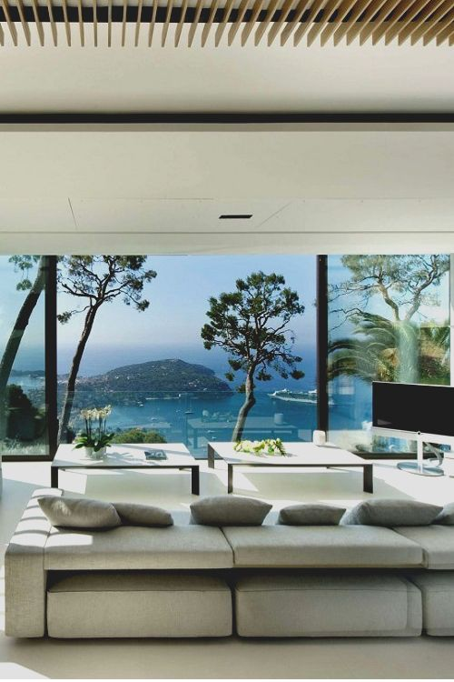 Interior Design: Modern Living Room With Floor To Ceiling Windows, Grey  Modular Fabric Sofa Part 83