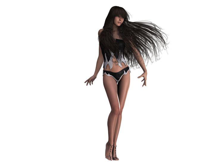 Frau, Hübsch, Fantasie, Lange Haare, Schwarze Haare