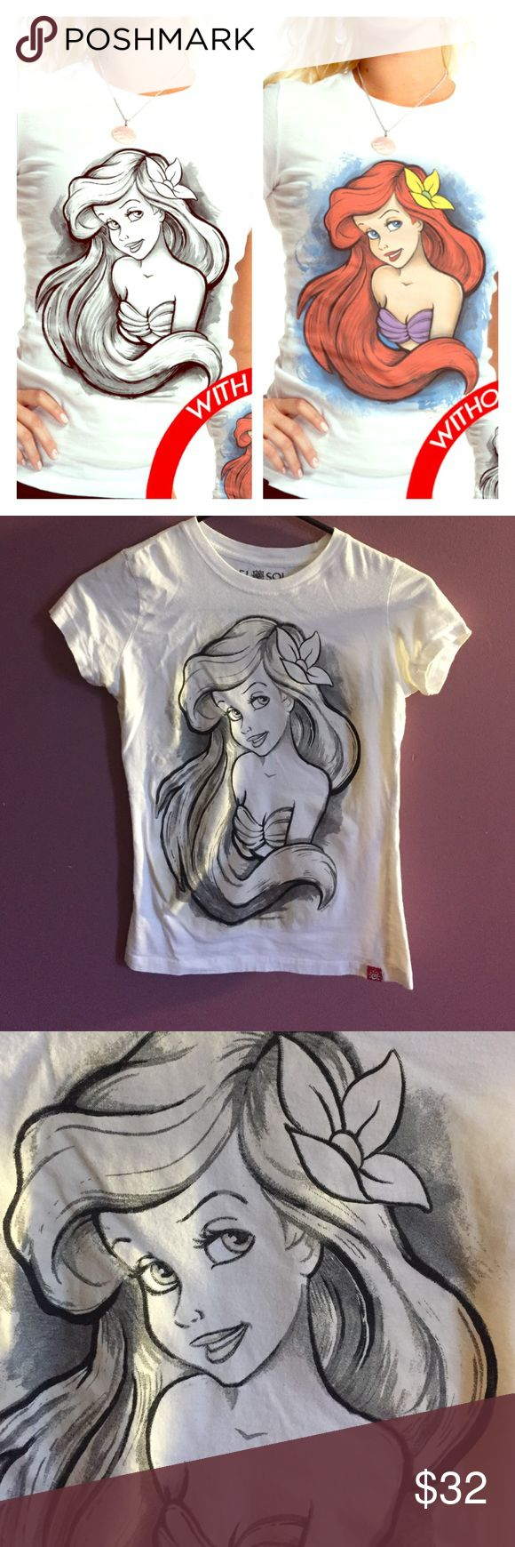 Sun Color Changing Princess Ariel Tee Changes colors in the sun. Not as vibrant as the picture shows but same colors :) Not a lot of sun in Indiana lately but I'll get a colored one up when I get some here 😊 out of stock so price is higher Disney Tops Tees - Short Sleeve