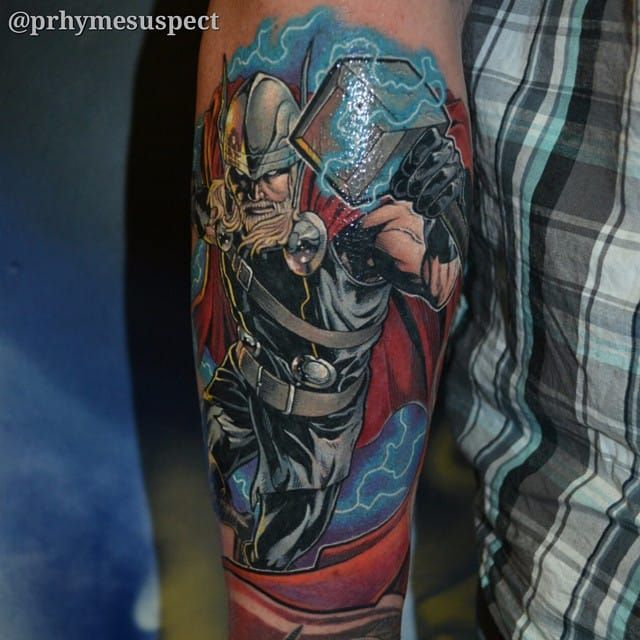 Thor tattoo by troy slack superhero marvel troystark thor for Marvel sleeve tattoo black and white