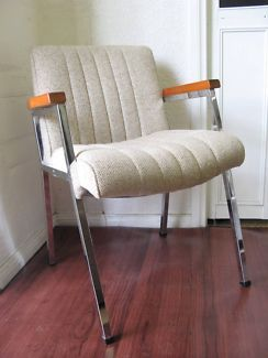 $40 Vintage CREAM FABRIC ARMCHAIR Timber & Metal Frame (8 Available) Text 0411691171 or email info@bitspencer.com