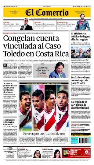 MARTES 11 de JUNIO de 2013  (PORTADA DE EL COMERCIO)