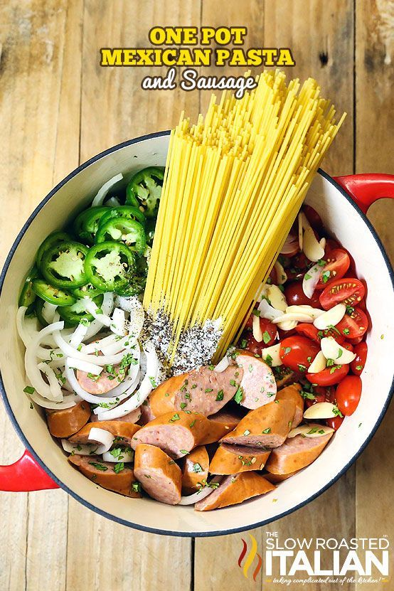 A spectacularly flavorful Mexican flavored sauce is cooked right into the linguine pasta in this amazing One Pot Pasta recipe, ready in 20 Minutes! Your favorite salsa ingredients come together to with pasta and sausage to create a knock your socks of me